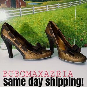 BCBG Max Azria Heel Leather Bronze Metallic loafer